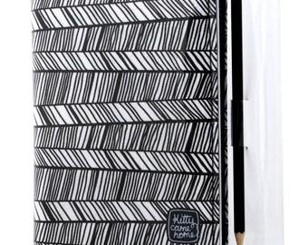 A6 Journal - Black and white herringbone chevron fabric