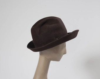 1960s Brown Fedora: Vintage Emme Designer Chocolate Wool Felt Hat, Bonwit Teller NY