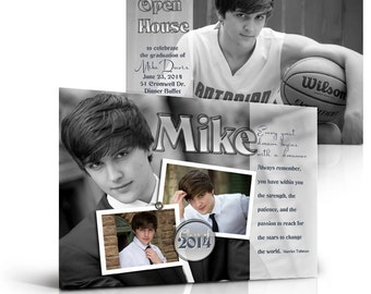 Senior Boy Graduation/Invitation Templates - HOT SHOTS - 5x7 Flat Press Printed Photoshop Templates for Photographers & Scrapbooking..