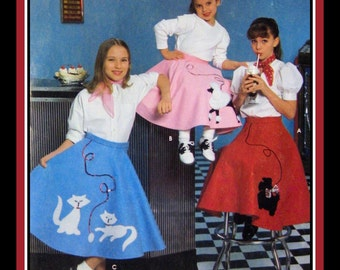 FAB FIFTIES-Full Circle Twirl Skirt-Girl's Costume Pattern-French Poodle-Scottie Dog-Frisky Kitties Appliqué Pattern-Uncut-Size 7-12-New