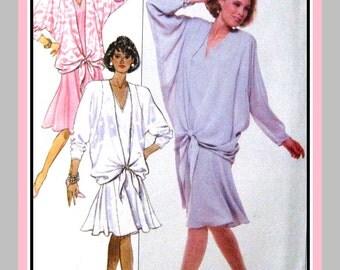 Vintage 1988-Feminine Dropped Waist Dress-Designer Sewing Pattern-Three Styles-Softly Flared Skirt-Loose Fitting-Uncut-Size 8-12-Rare