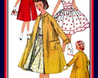 Vintage 1955-RICK-RACK DELIGHT-Twirl Dress-Sewing Pattern-Chic Flared Lined Coat-Two Styles-Raglan Sleeves-Patch Pockets-Size 12-Rare