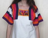 topanga canyon -- vintage 70s fiber art patchwork muumuu dress S