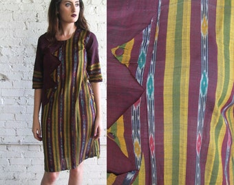ikat tunic -- vintage 70's ethnic indian cotton tunic dress size  S