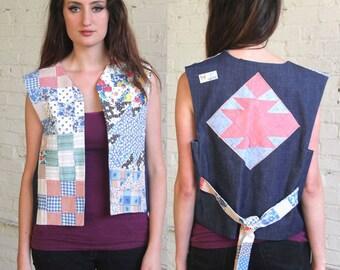 folklore -- vintage 80s handmade patchwork quilted folk art vest S/M