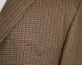 Vintage Checkered Brown and Brick Red Wool Western Cowboy Blazer Sports Jacket 44