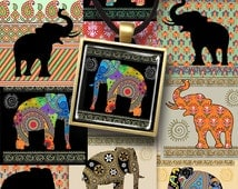 Printable download DECORATED ELEPHANTS 1x1 inch and 1.5x1.5 inch size square images Digital Collage Sheet for pendants bezel trays magnets