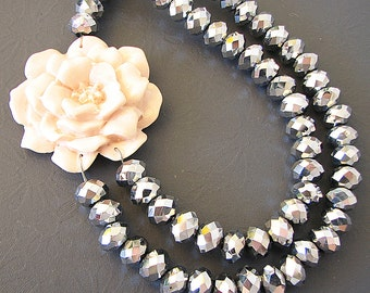 Crystal Necklace Silver Necklace Statement Necklace Wedding Jewelry Flower Necklace Beaded Necklace Bride Gift