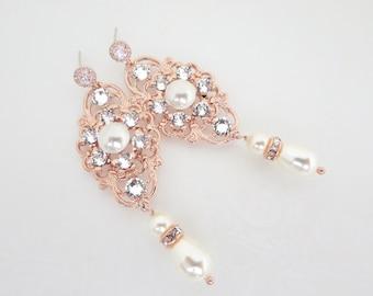Rose Gold Wedding earrings, Crystal Bridal earrings, Rose Gold Wedding jewelry, Vintage style earrings, Rhinestone earrings, Pearl drop