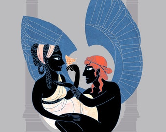 Eros and Psyche - Greek Mythology inspired Illustration