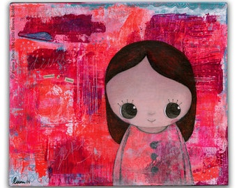 Art for kids room- girls room decor- original painting