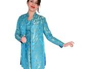 50s Outfit Vintage Wiggle Dress n Jacket Turquoise Damask Dress Sz XS / Spring Fashion