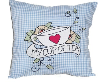 Teacup Cushion, Gingham Throw Pillow, Tattoo Style Pillow, Teacup Cushion, My Cup of Tea Pillow, Novelty Pillow, Tea Lover Gift, Mothers Day
