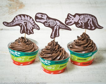 Dinosaur Fossil Party birthday printable cupcake wrapper kit science dino skulls paleontologist paleontology jurassic skeleton educational