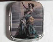 Blue Vintage Photo Mata Hari Bindi Box RESIN and tin Pill Box