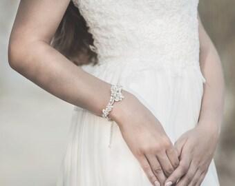 Wedding Bracelet , Pearl Bracelet, Opal Bracelet, Crystal Bracelet , Ivory Pearl Bracelet , Silver Bracelet , Bridal Jewelry
