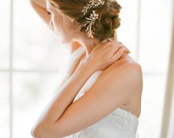 ROSAMONDE Crystal pearl bridal hair pins in gold