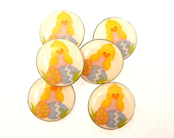 "6 NO HOLE Easter Chick and Eggs Buttons for Earrings, Hair Bows or Glue On Embellishments 1/2"" or 13 mm Round."
