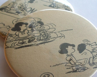 Gift under 15 Upcycled Peanuts vintage comic Recycled into a Set of Two Coasters Featuring Lucy and Snoopy