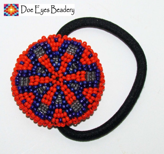 beaded ponytail holder orange flower free by doeeyesbeadery