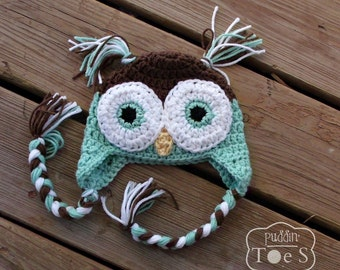 Mint Baby Owl Hat, Crochet Owl Baby Hat, Mint Green Owl Baby Shower Gift, Crochet Baby Girl Hat, Baby Earflap Hat, Baby Photo Prop