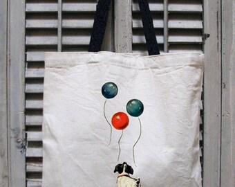 dog tote bag - vintage design ALWAYS LOOK UP - positive attitude cotton canvas tote bag