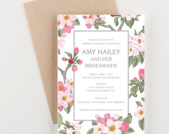 Pink and Green Floral Bridal Luncheon, Save The Date, Wedding Announcement, Bridal Shower