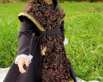 Doll Dress, Spanish Formal Dress, Black and Burgundy,  For Slender 18 inch dolls