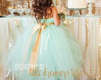 Mint Green Flower Girl Tutu Dress