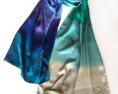 Silk satin shawl- Falling dandelions/ Bridal shawl wrap, Weddings accessory/ Painted scarf/ Teal Blue Bell scarf shawl , Luxury silk shawl