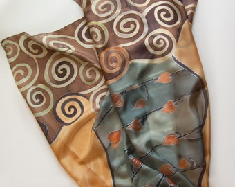 Hand Painted Silk Scarf- Camel Song/ Painted Shawl. Grey Brown silk scarf painted/ Large luxury scarf/ Klimt inspired/ Unique hand made gift