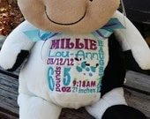 personalized baby gift, stuffed plush cow with name embroider buddies, cow, keepsake custom embroidery design, best baby gift ever