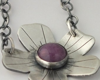 Purple Jade Flower Necklace, Sterling Silver Common Wood Sorrel