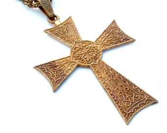 Vintage Miriam Haskell Cross Pendant Necklace Signed Long Chain Gold Metal Relic Religious Crucifix Symbol Designer Jewelry