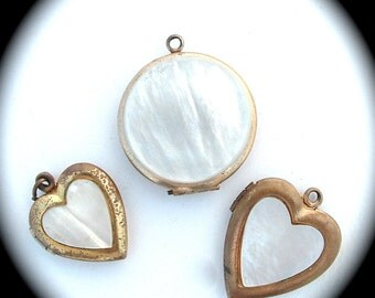 ROMANTIC Antique Jewelry, Mother of Pearl Lockets, Locket Pendant Necklace Heart Travel Photo Picture Frame Keepsake, White Bridal Jewelry