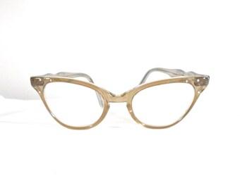 SALE Rhinestone Frame France Cat Eye Glasses / TWEC / Vintage Sunglasses/ Fawn - Light Brown Cats Eyes