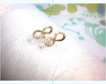 Forged Vermeil 14k Gold - infinity earrings / gold stud earrings / gold bow earrings / 14k gold earrings /  circle earrings / gold studs