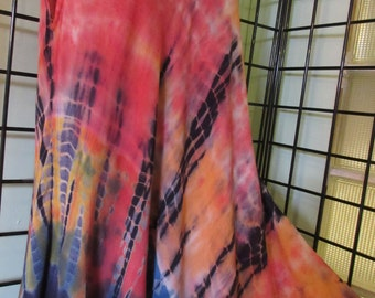 Beautiful rayon Maxi Dress, Hand Tie Dyed,  Size L