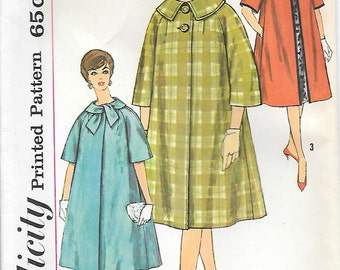Simplicity 3786-UNCUT 1960s Full Coat with Bow Vintage Sewing Pattern Bust 32 36 Three-Quarter or Short Sleeve