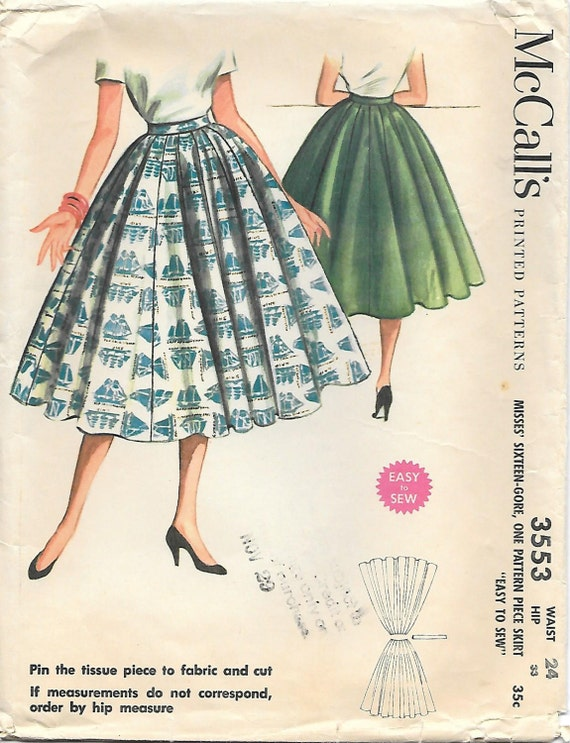1950s Circle Skirt McCalls 3553 Sixteen Gore Skirt Waist 24 or 28
