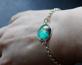 Orion Nebula Galaxy Bracelet - Glass Dome solar system orions belt personalised bracelet chain