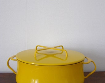 Copco Michael Lax Design Yellow Enamel Tea Kettle By