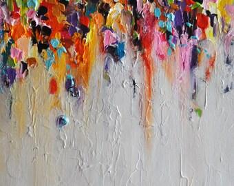 "Abstract Painting on Panel Original Painting Rainbow Rain Heavy Textured Art 15""x22"""