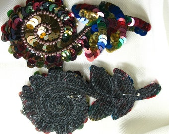 Iron on Sequin and Bead Flowers Vintage 1950's Multicolored Red Tone 2 pces