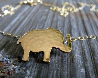 Elephant necklace. Simple hammered little 14k gold filled safari animal. Good luck. Small pendant necklace. Sterling silver also available