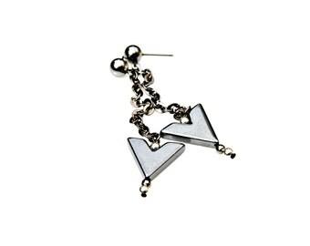 Arrow Earrings Long Dangle Earrings Chevron Earrings Black Hematite Silver Earrings Metal Earrings Geometric Modern Posh Style by Mei Faith