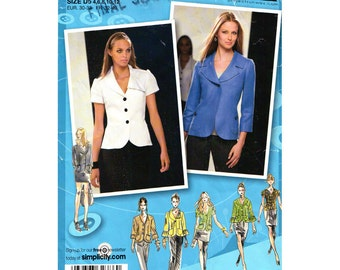 Fitted Jacket Pattern Simplicity 2728 Flounce Sleeve Project Runway Womens Size 4 to 12 or 14 to 22