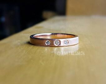 3 Diamond Ring in 14K Rose Gold