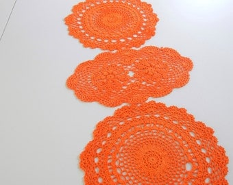 Hand Dyed Vintage Doily Set / Orange cotton / set of 5 / Create Easter table runner / Upcycle / Orange Doilies / Spring / Easter