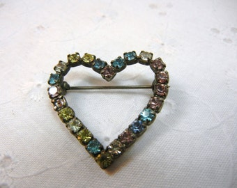 Rhinestone Brooch / Heart pin with vintage rhinestones / pink blue yellow clear / pastel / pretty brooch / Sparkly / Mother / wedding